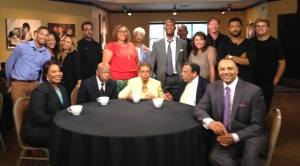 BET crew with Bernice A  King John Lewis Eleanor Holmes Norton Andy Young and Ed Gordon  BJR back row center(in blue)